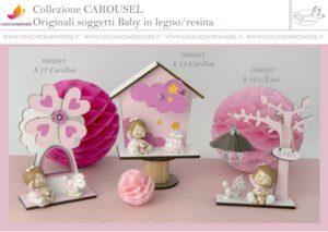Bomboniera battesimo rosa carillon