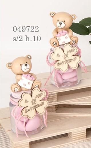 Barattolo orsacchiotto rosa 049722