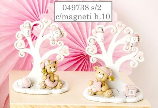 Magnete albero della vita con orsetto rosa 049738