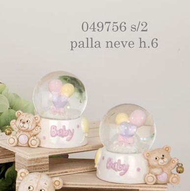 Palla di neve orsacchiotto rosa 049756