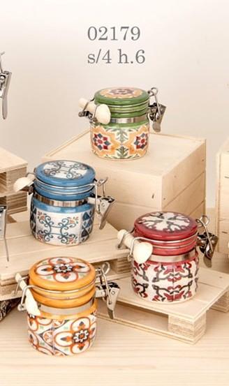barattoli colorati con decorazioni tema vietri 02179