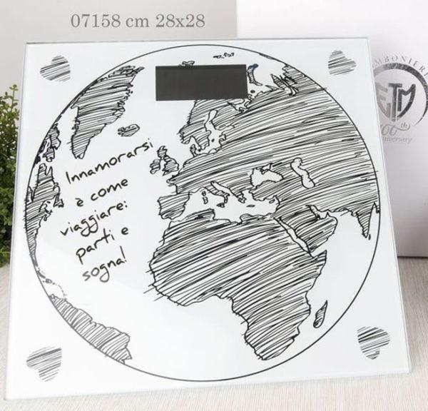 bilancia mondo in vetro con scritta 07158