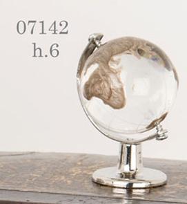 Mappamondo vetro cristallo tortora 07142