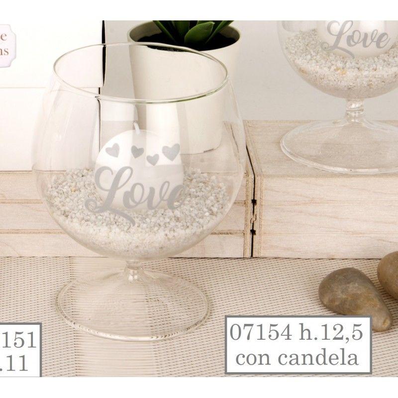 Porta candela in vetro tema amore 07154