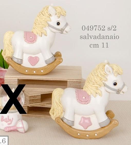 Salvadanaio cavallo a dondolo rosa 049752